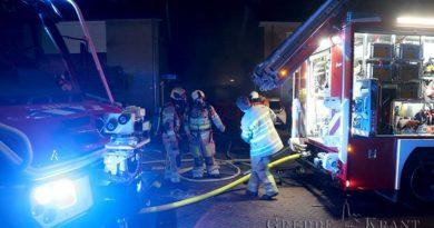 Schade door brand in huisvuilcontainer